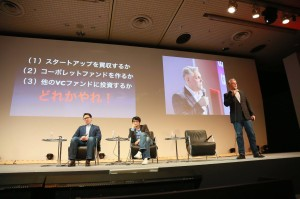 Speaking in Japanese, George Kellerman of 500 Startups exhorts Japanese companies to invest in ventures. Photo credit: JANE